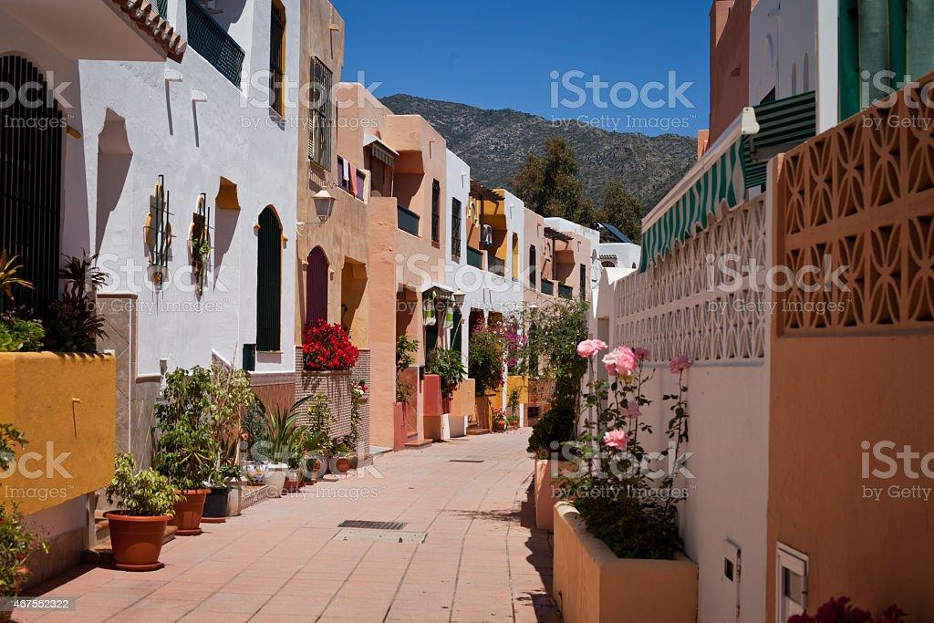 Spain street Marbella flowers stock photo