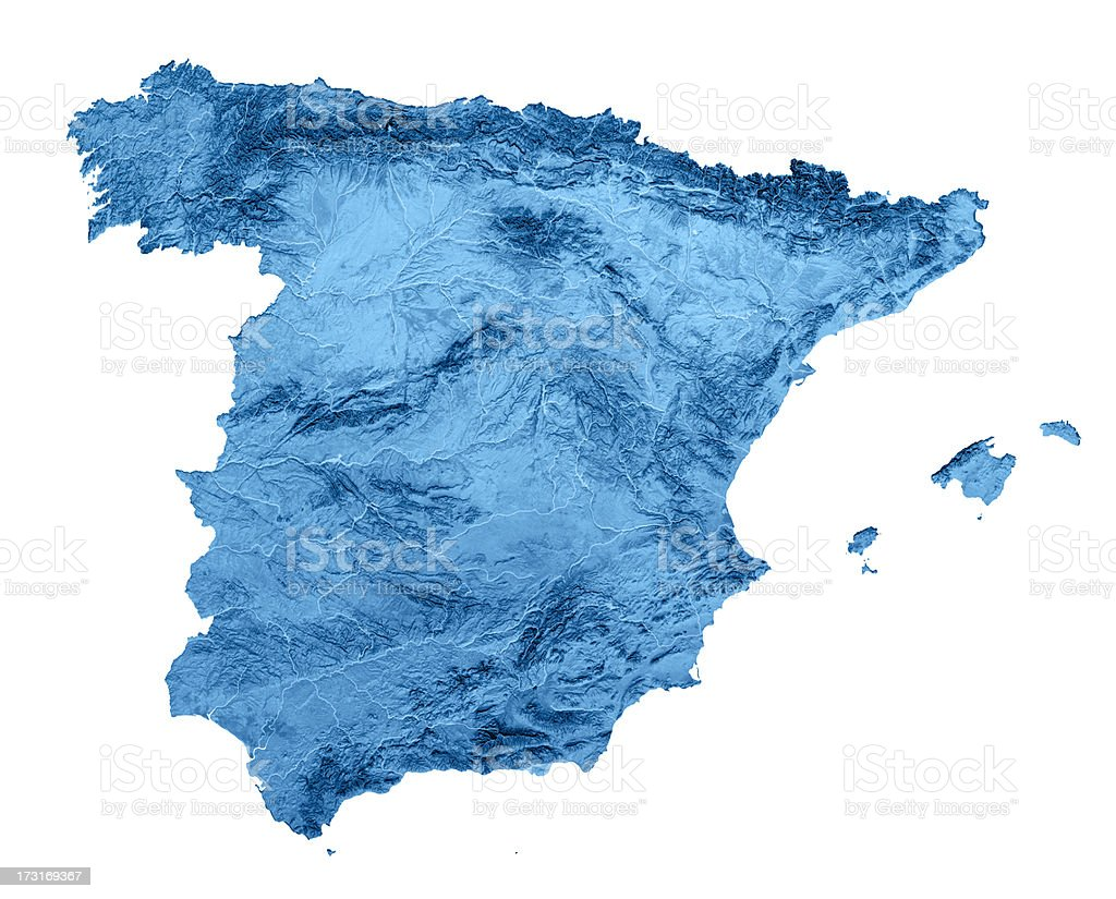 Spain Topographic Map Isolated stock photo