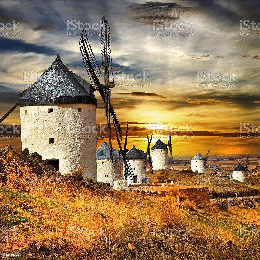 Spain,Consuegra. windmills on sunset, stock photo