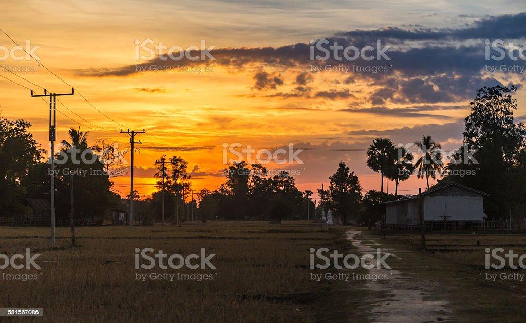 Spain,Consuegra. windmills on sunset stock photo