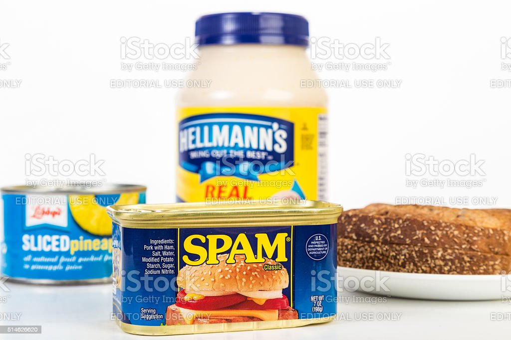 Spam and Pineapple Sandwich stock photo