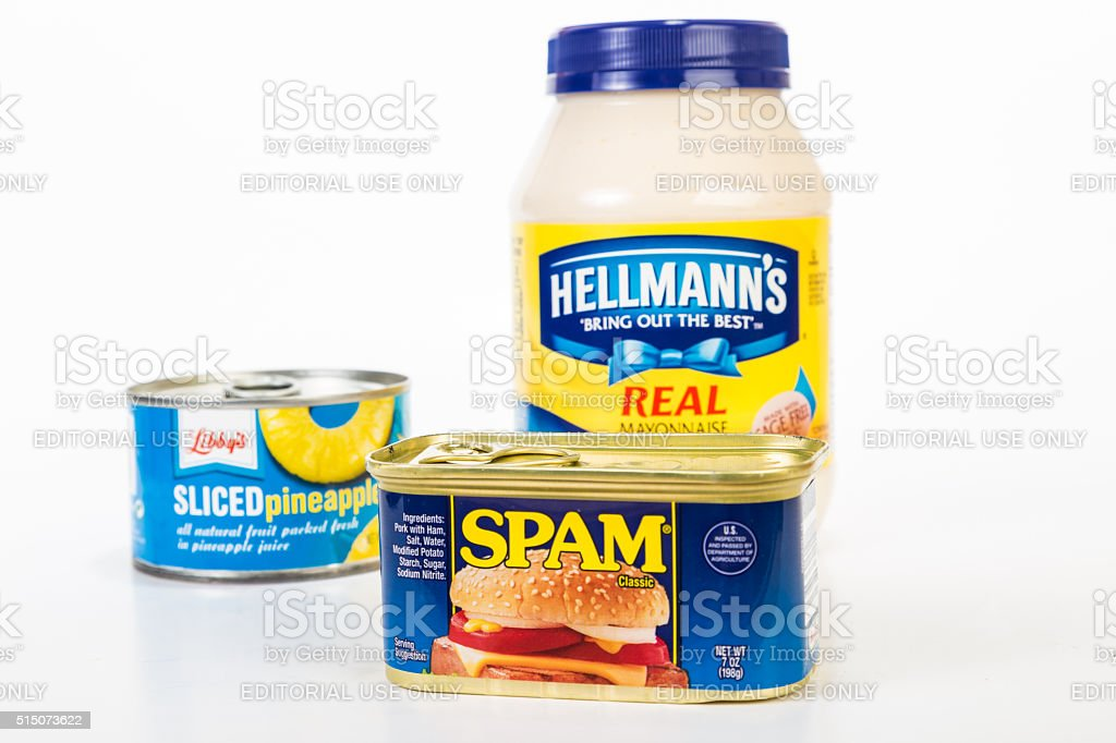 Spam and Pineapple with Mayonnaise stock photo
