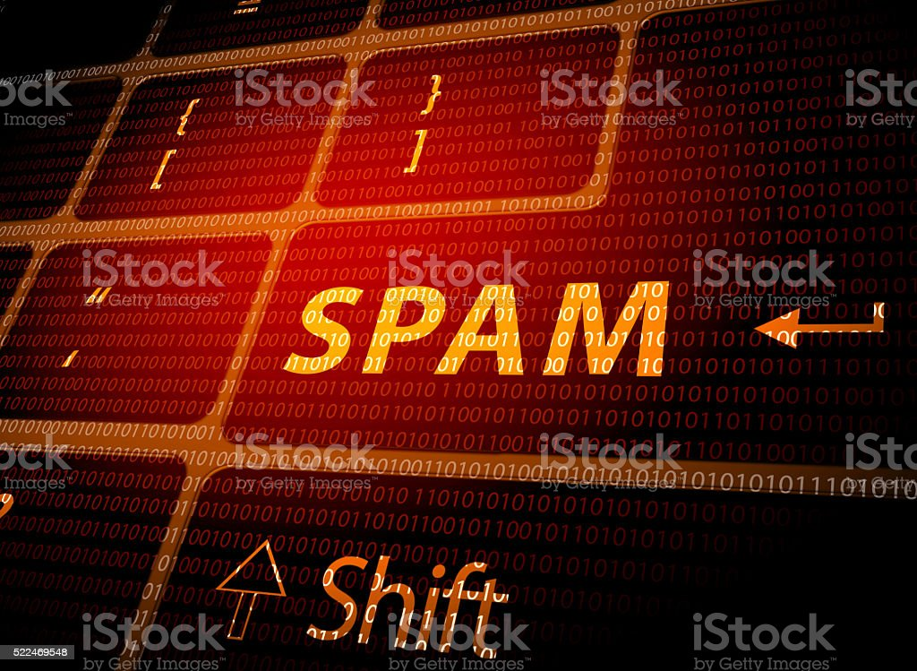 Spam email warning stock photo