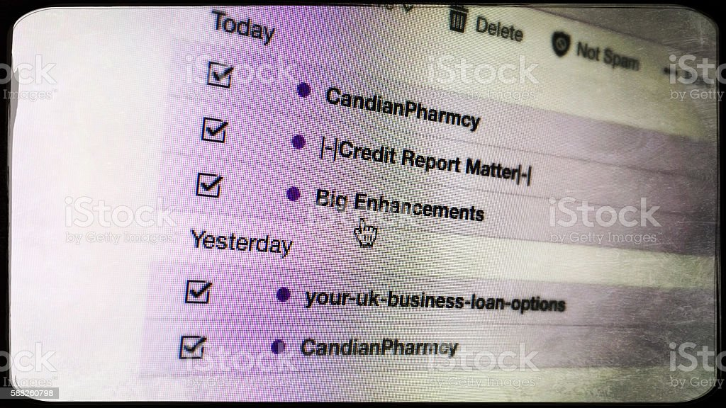 Spam emails on computer screen stock photo