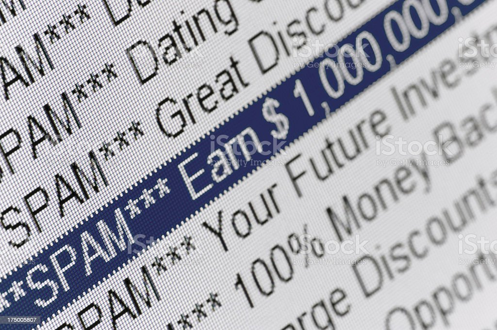 Spam Mail Email Folder Listing, Macro Closeup of E-mail directory stock photo