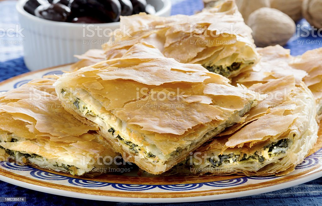 OPA! Spanakopita - Greek Spinach Pie with Olivess stock photo