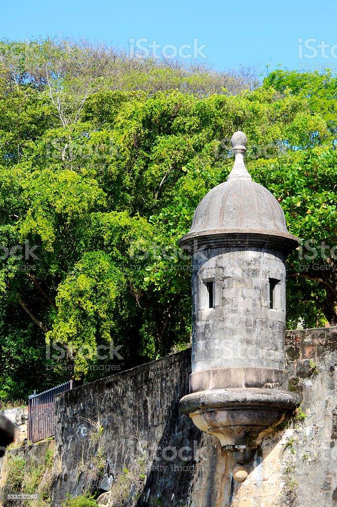 Spaniard Garita or Sentry House, at Old San Juan Wall stock photo