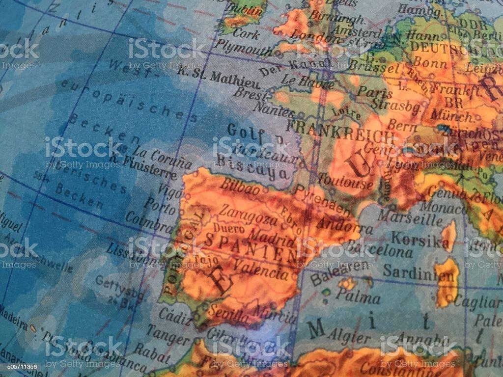 Spanien Karte - Alter Globus / Weltkarte stock photo