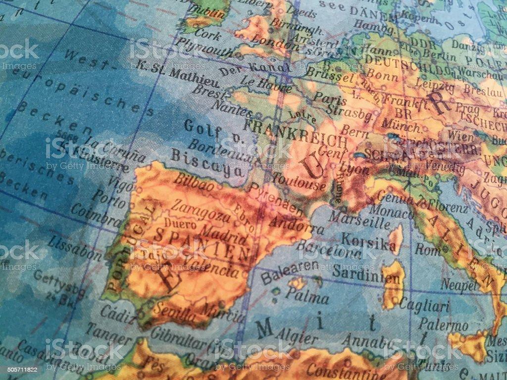 Spanien Karte -Alter Globus / Weltkarte stock photo