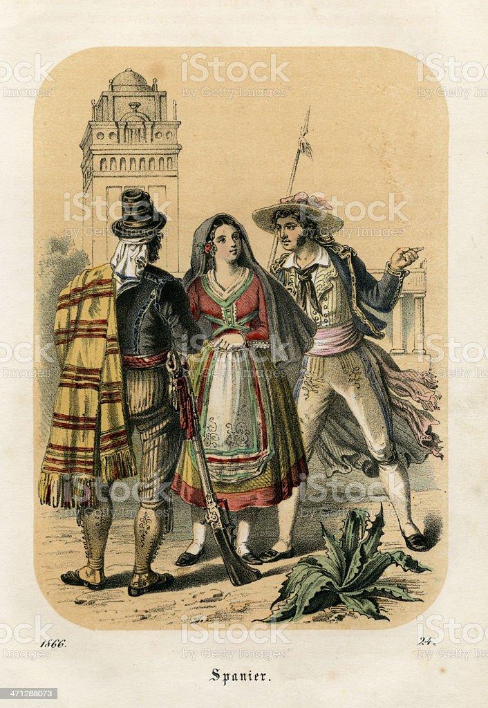 spanier / spaniards, lithograh, 1866 stock photo