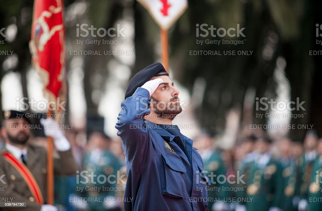 Spanish air force infantry soldier honoring fallen stock photo