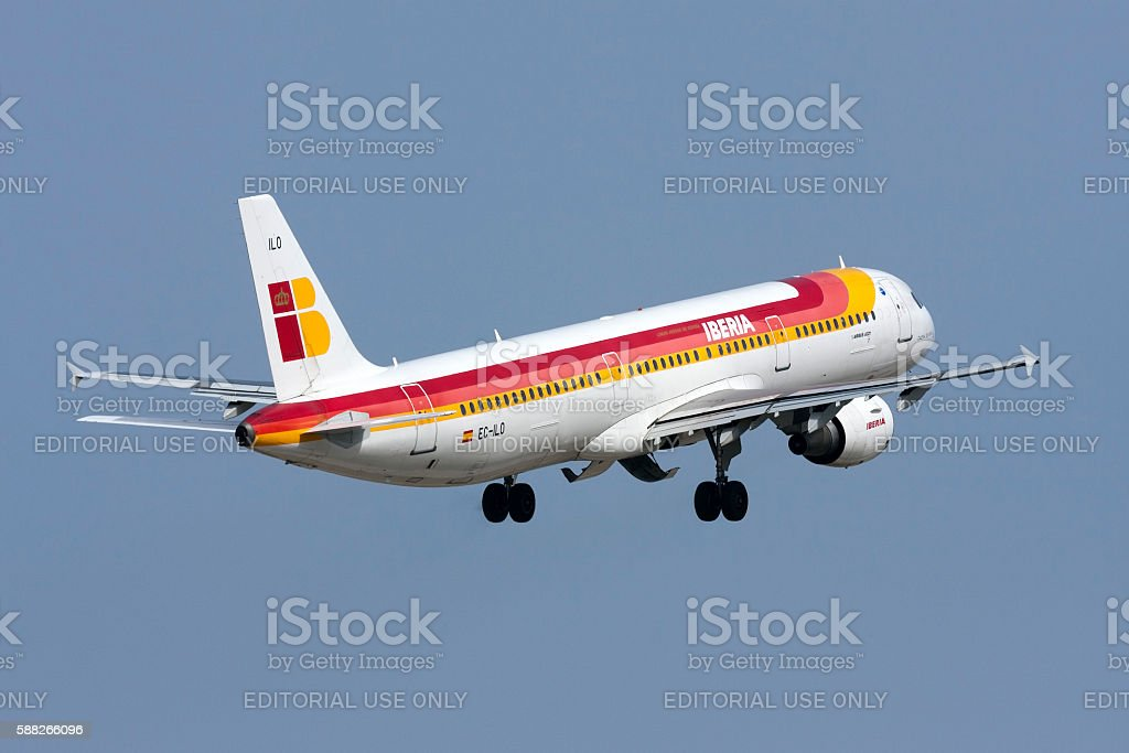 Spanish airliner on take off stock photo