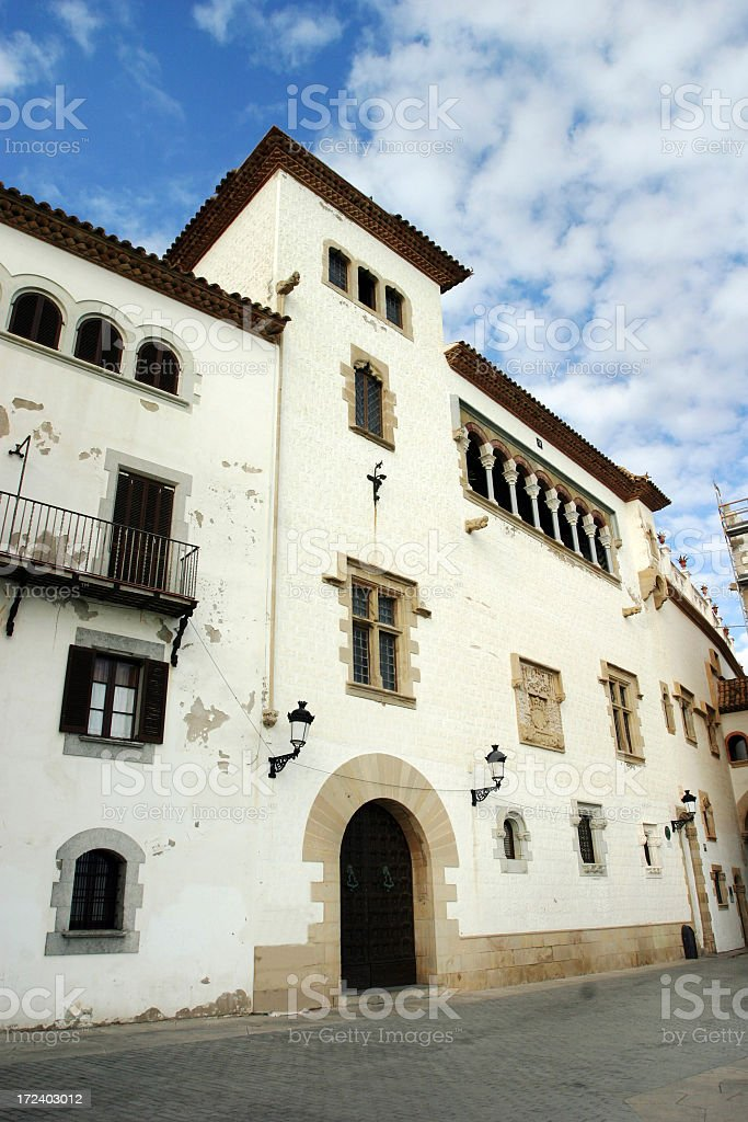 Spanish Architecture Sitges Barcelona Townhomes royalty-free stock photo