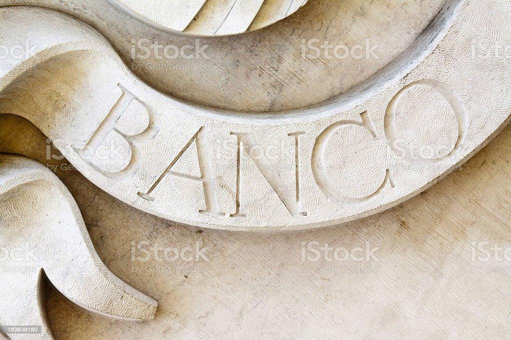 Spanish Banco Sign stock photo
