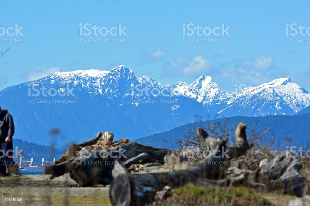 Spanish Banks with View on Coast Mountains stock photo