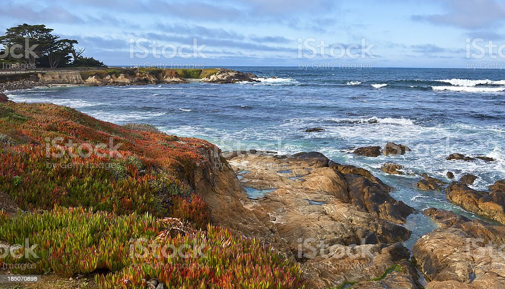 Spanish Bay, Monterey Peninsula Panorama stock photo