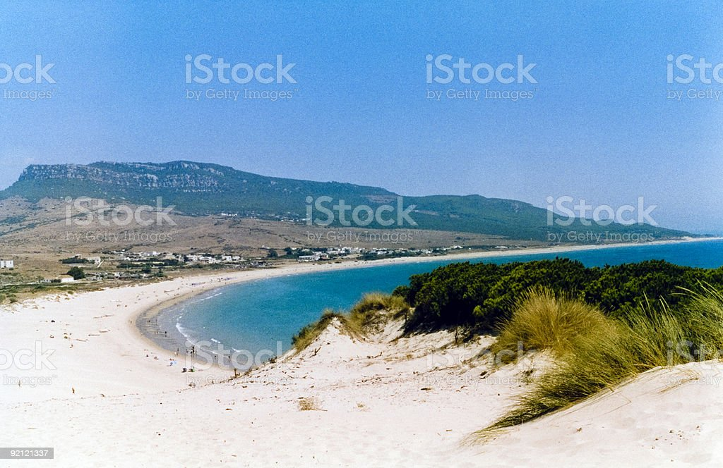 spanish beach bolonia cosat de la luz stock photo