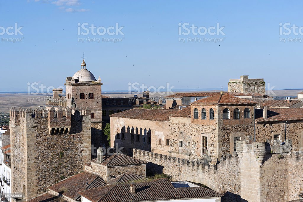 Spanish building, Caceres stock photo