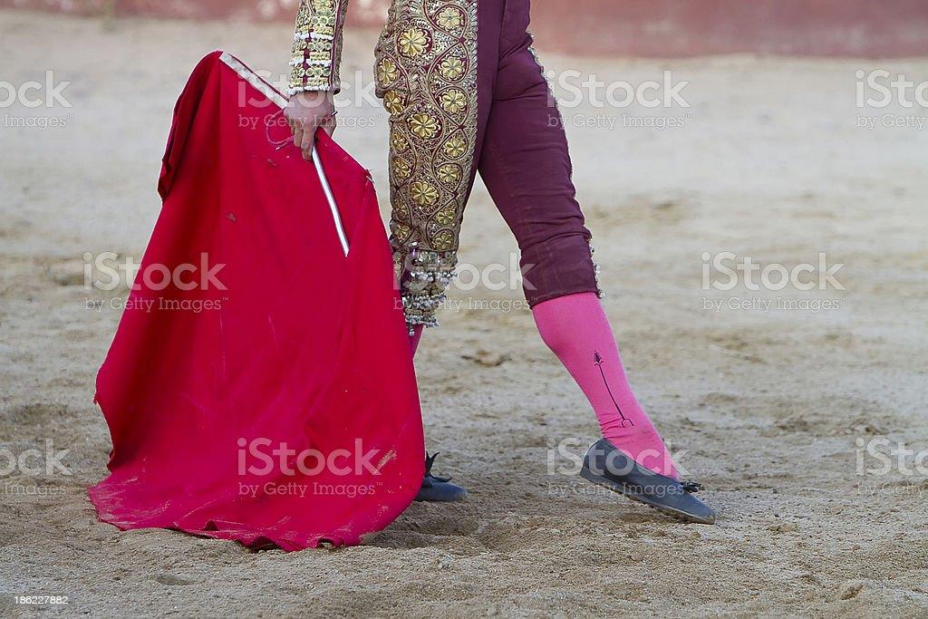 Spanish Bullfighter  with muleta in the arena stock photo