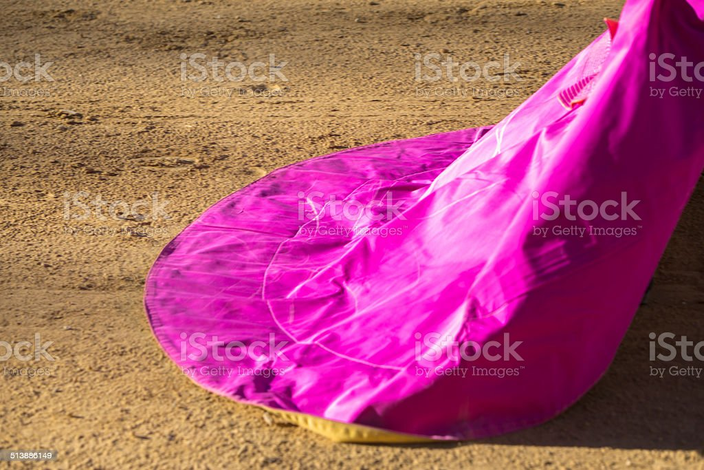 Spanish Bullfighter with the Cape in the Sabiote bullring, Sabio stock photo