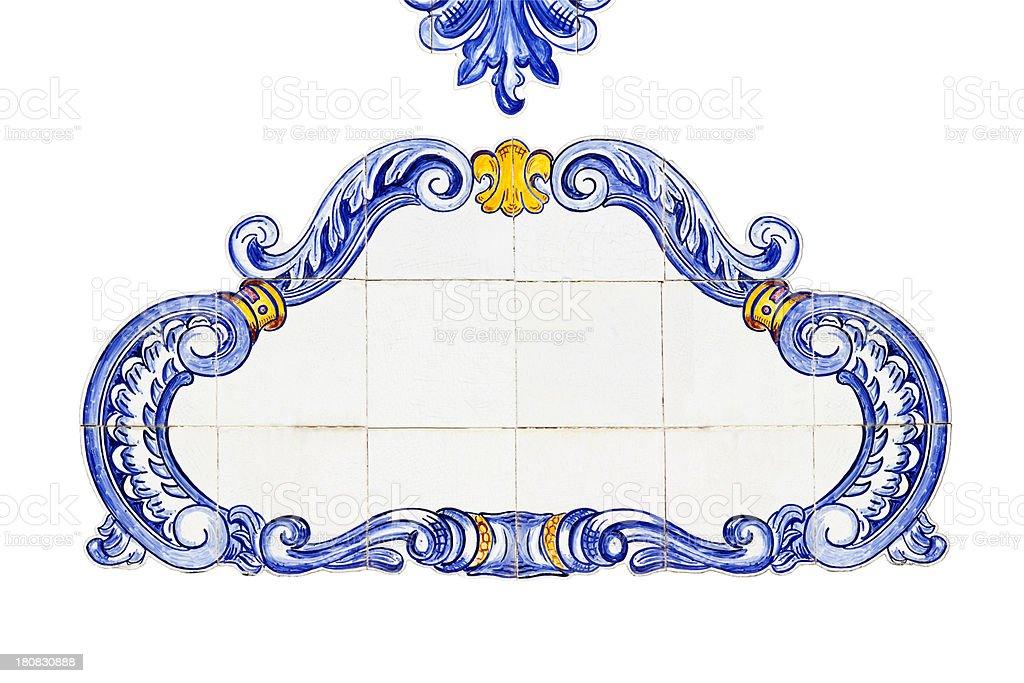 Spanish Cartouche Tiled Panel royalty-free stock photo