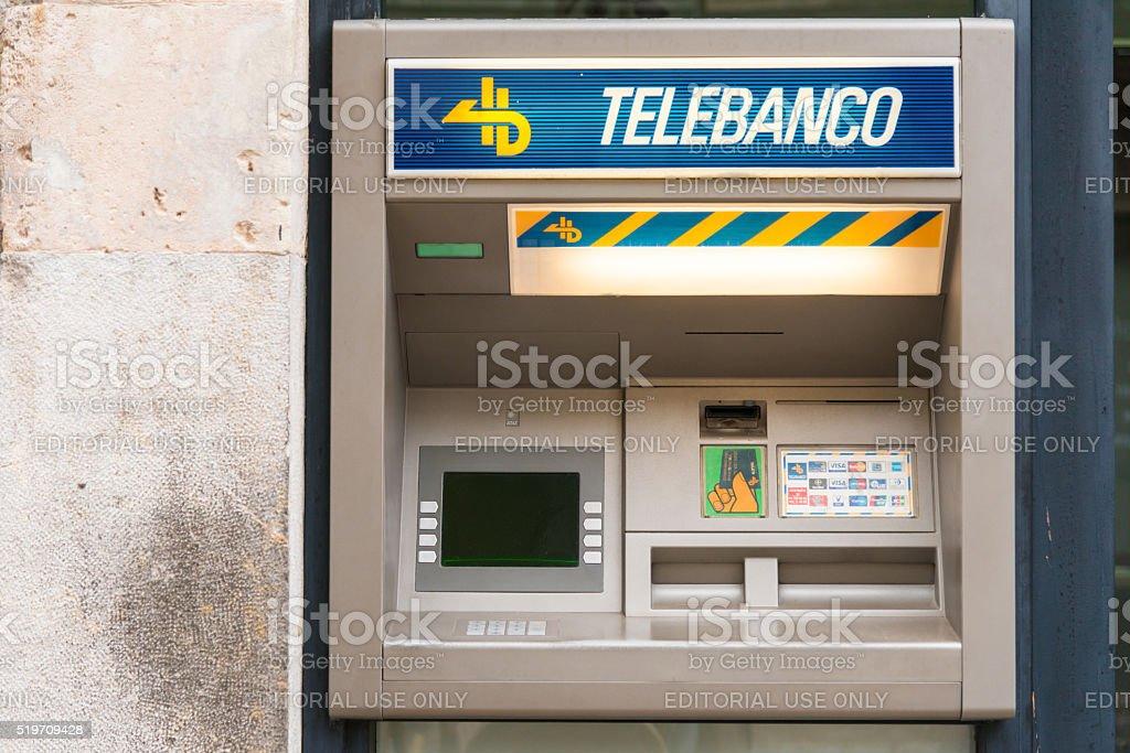 spanish cash machine - Telebanco stock photo