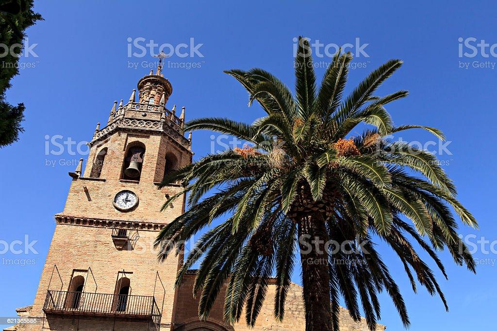 spanish church and palm tree stock photo