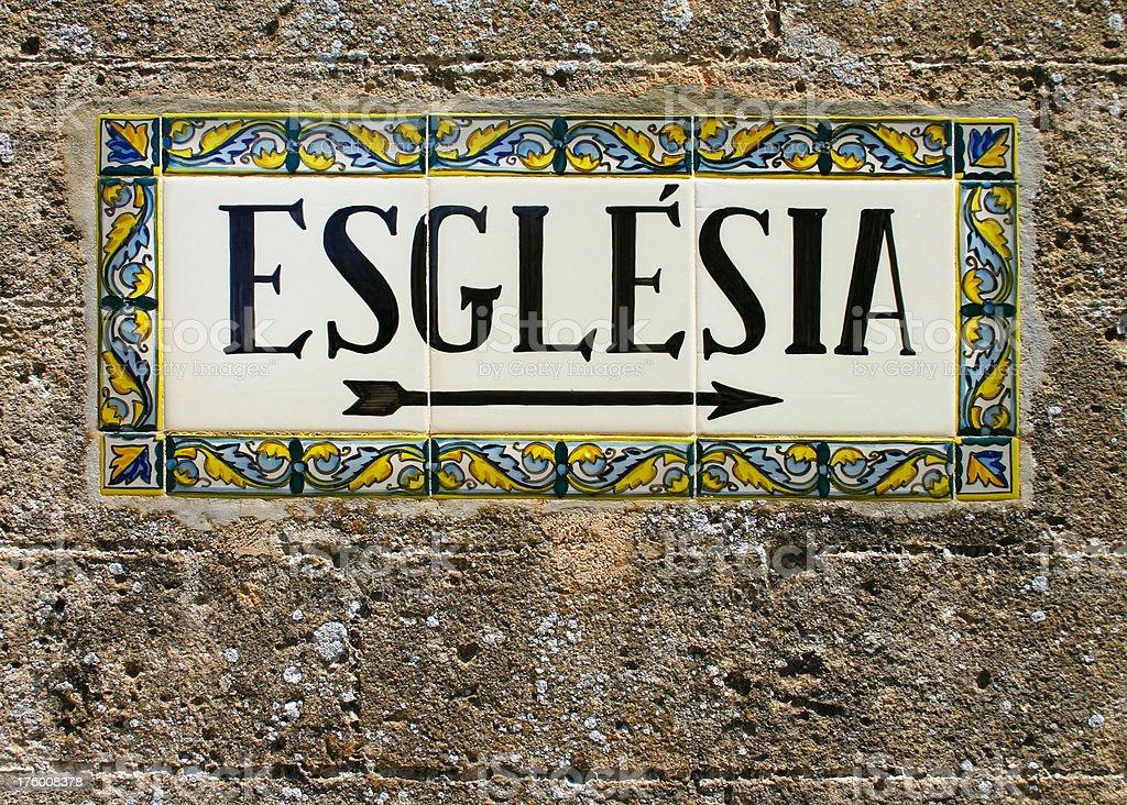 Spanish Church Sign royalty-free stock photo