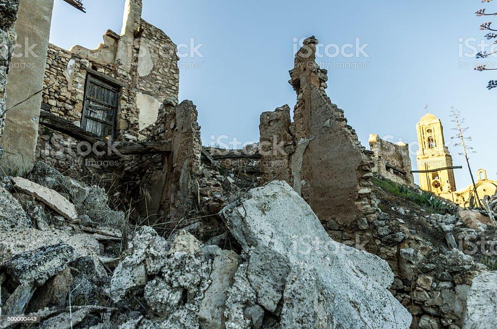 spanish civil war destroyed town santa coloma cervello royalty-free stock photo