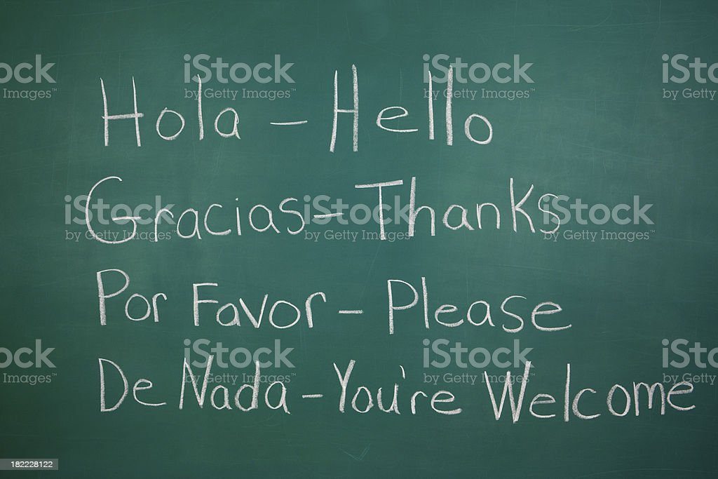 Spanish Class Chalkboard royalty-free stock photo
