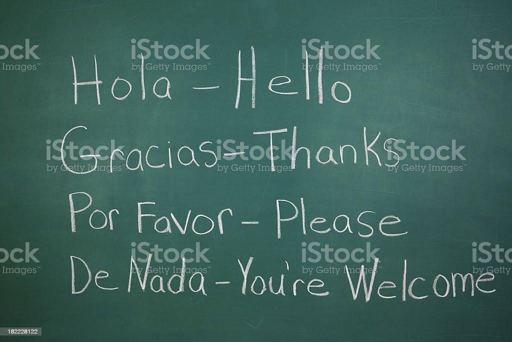 Spanish Class Chalkboard stock photo