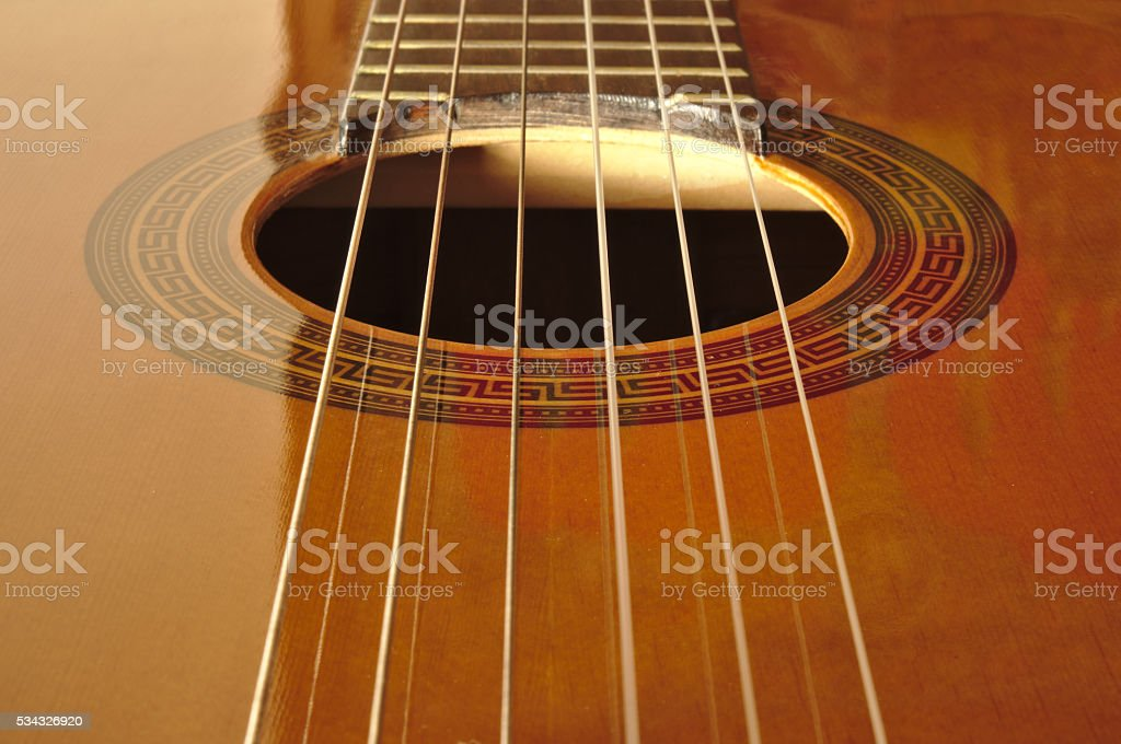 Spanish classical guitar stock photo