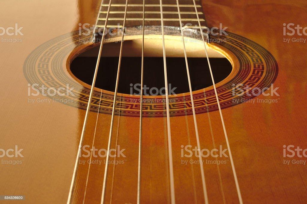 Spanish classical guitar stock photo