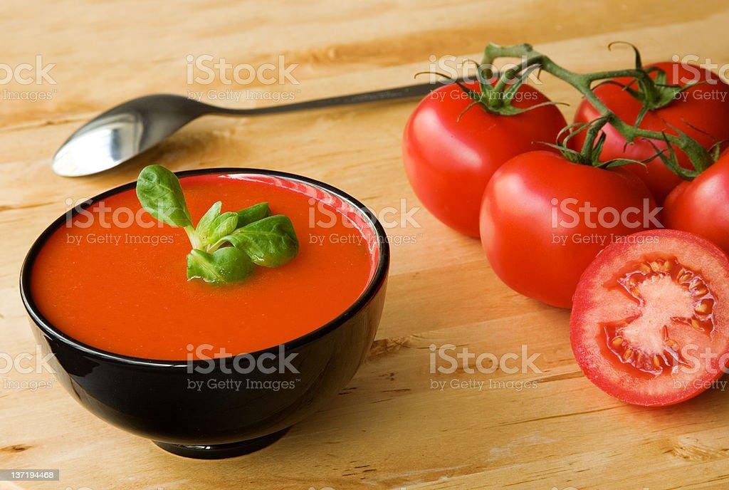 Spanish cold tomato-based soup gazpacho royalty-free stock photo