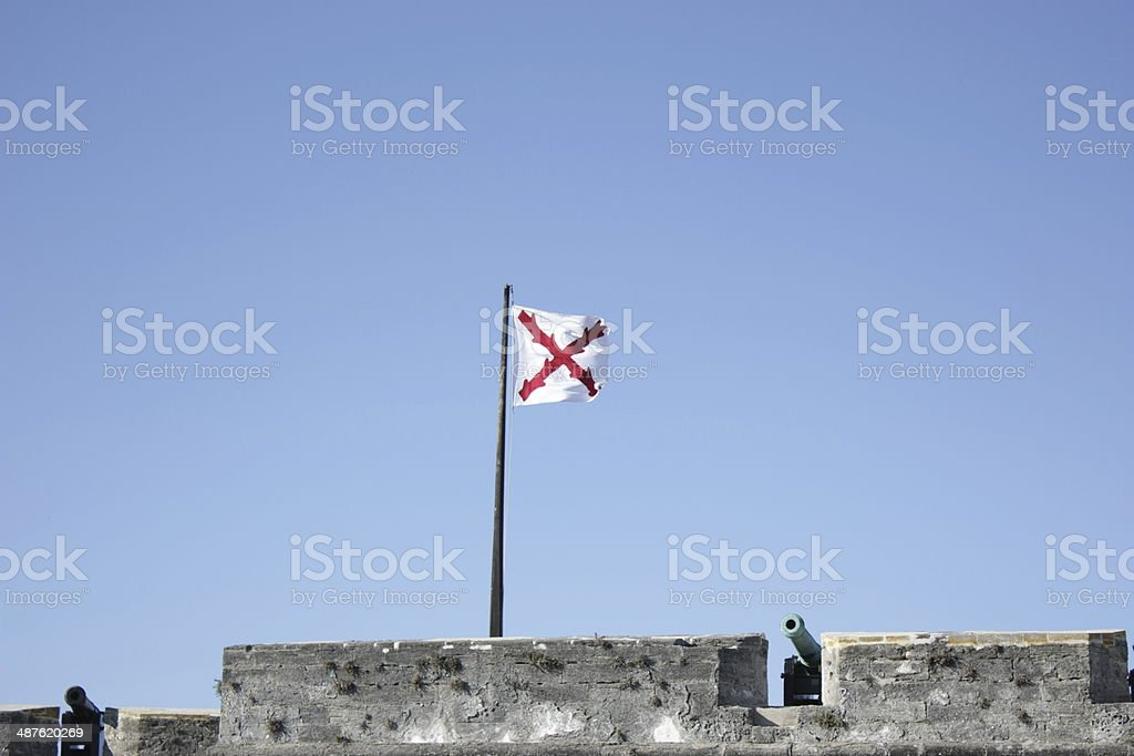 Spanish colonial flag at St Augustin stock photo