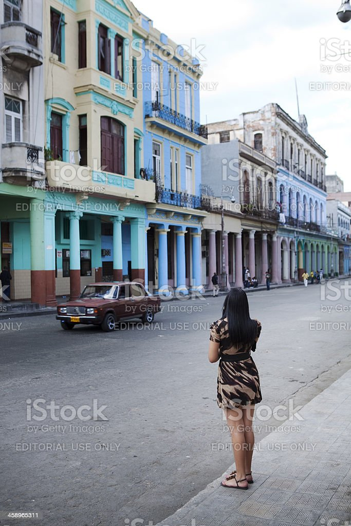 Spanish Colonial Street of Old Havana royalty-free stock photo