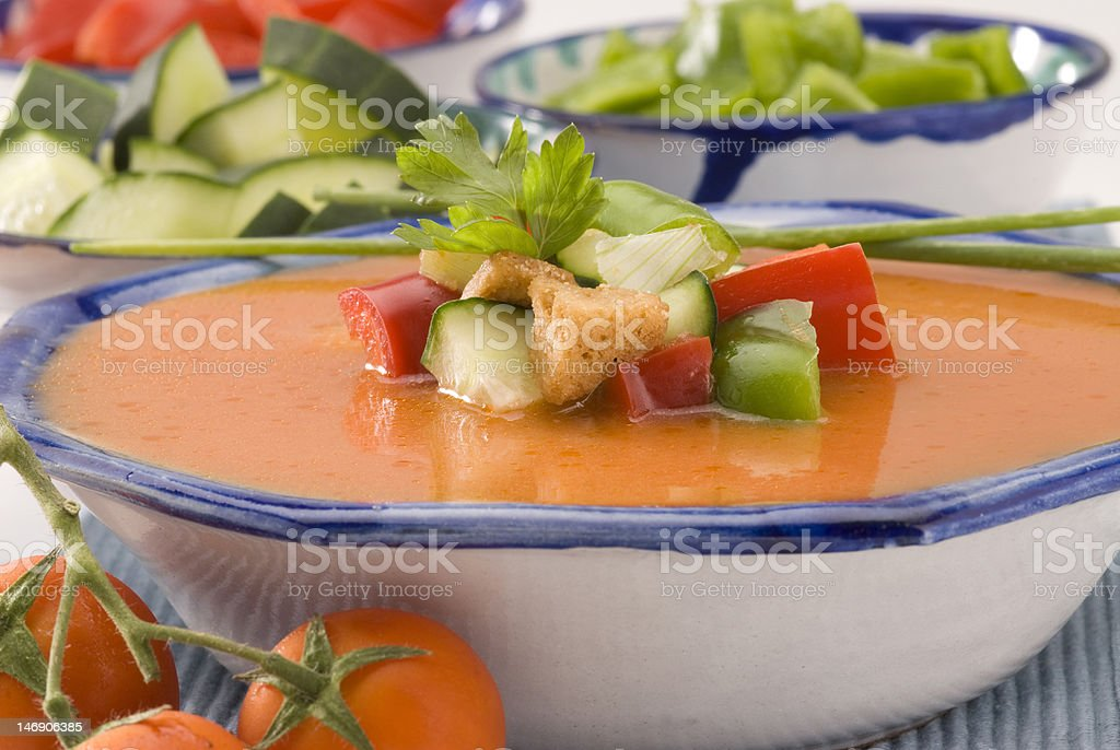 Spanish Cuisine. Gazpacho. Andalusian cold soup. stock photo
