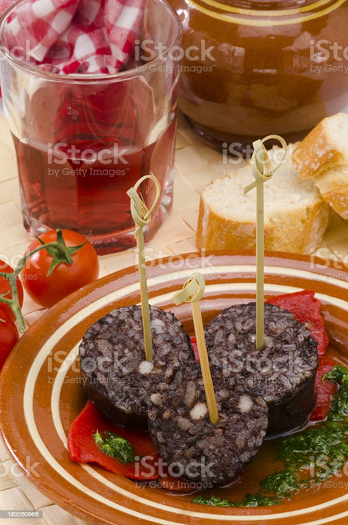 Spanish Cuisine. Morcilla de Burgos. Black Pudding. stock photo