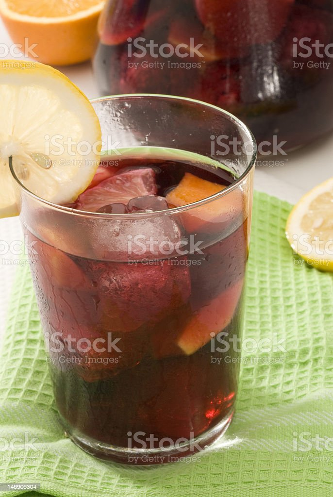 Spanish cuisine. Sangria. Red wine punch. royalty-free stock photo