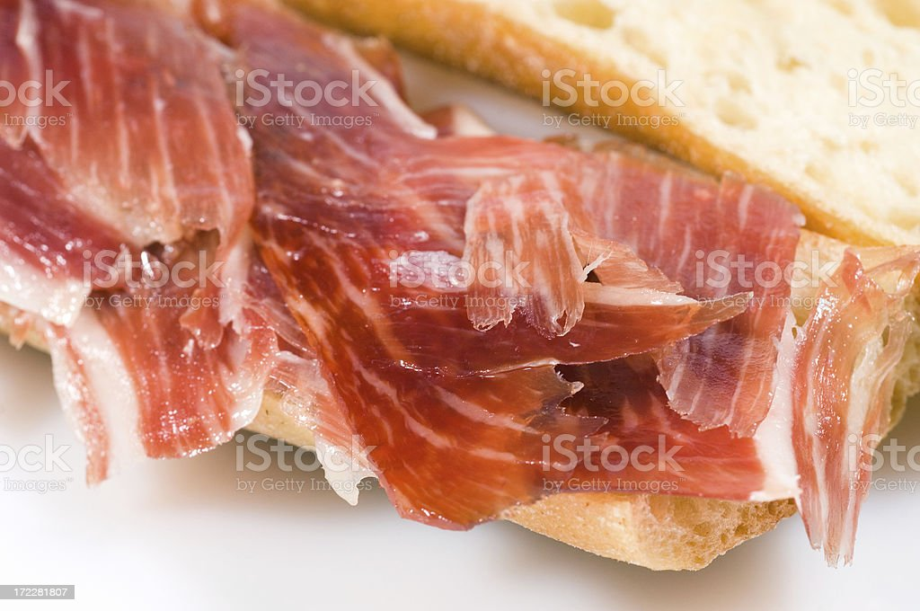 Spanish cured ham sandwich (bocata de jamon) royalty-free stock photo