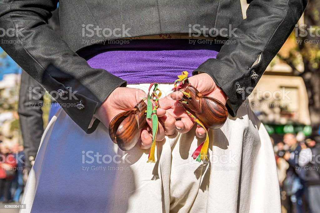 Spanish dancer  with castanuelas instruments stock photo
