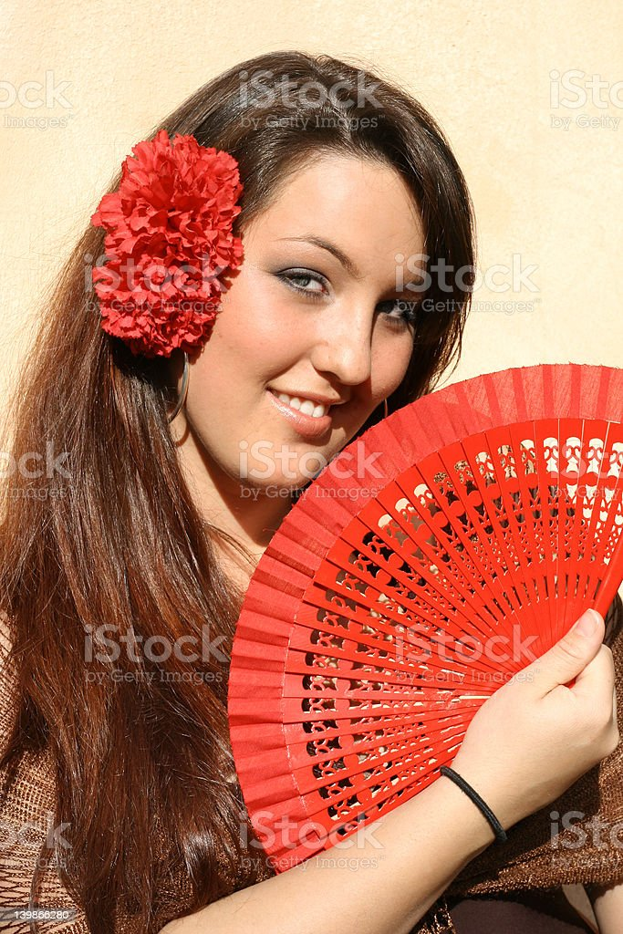 Spanish dancer with fan(scroll down for similar images) royalty-free stock photo