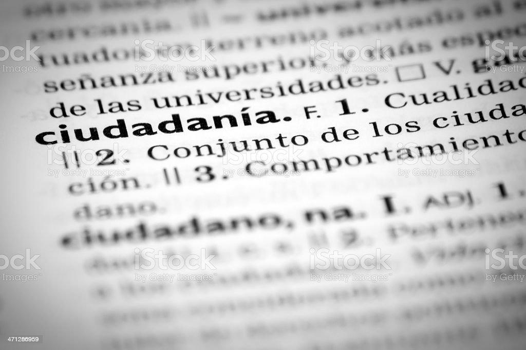 Spanish definition of 'citizenship' royalty-free stock photo