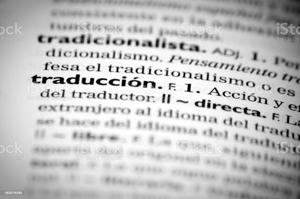 Spanish definition of  'Translation' royalty-free stock photo