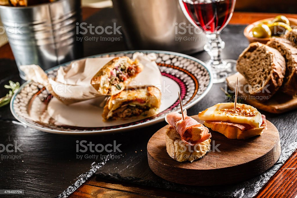 Spanish dinner cooked and served on the table stock photo