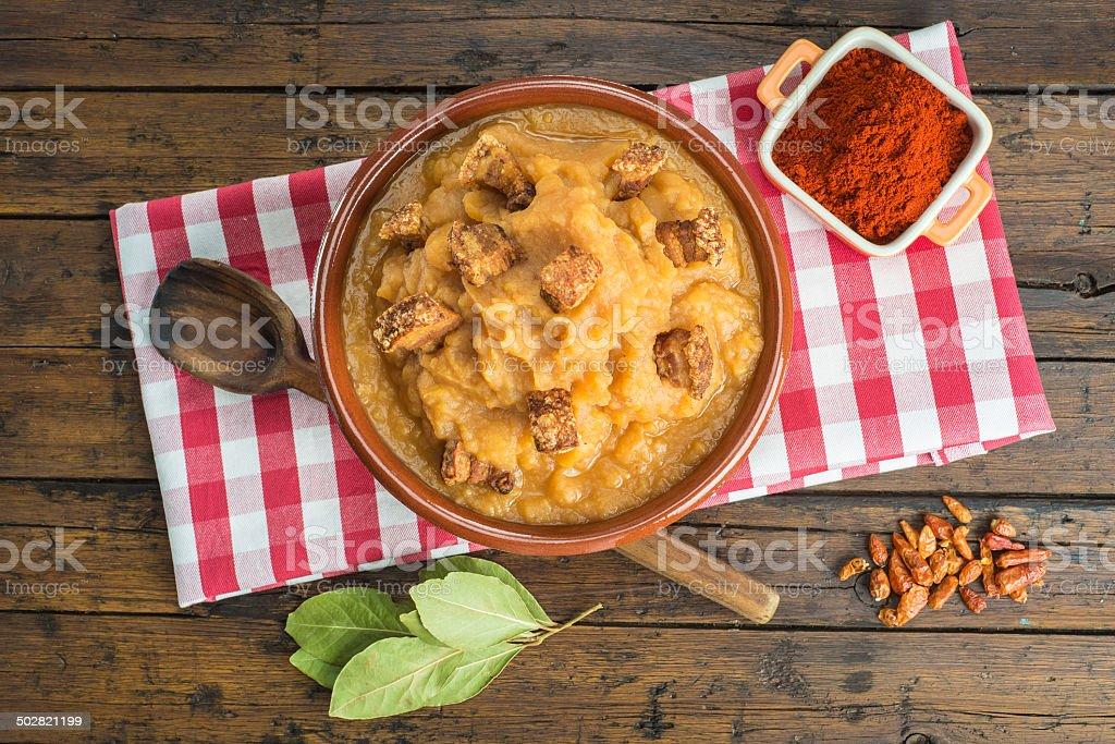 Spanish double-mashed or bobbed potatoes stock photo