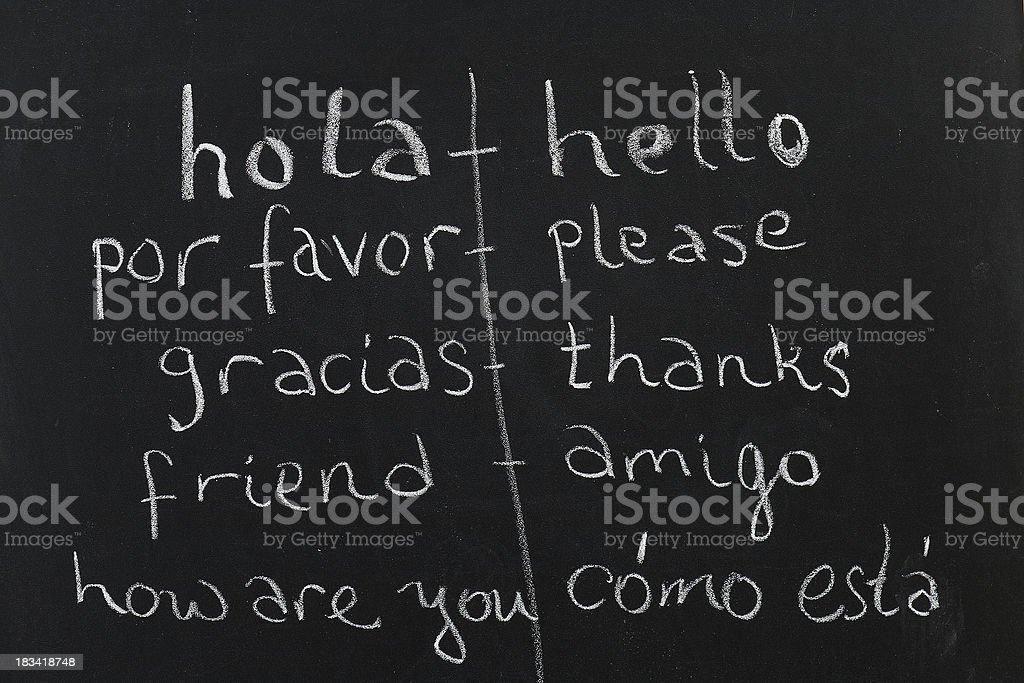 Spanish / English class stock photo