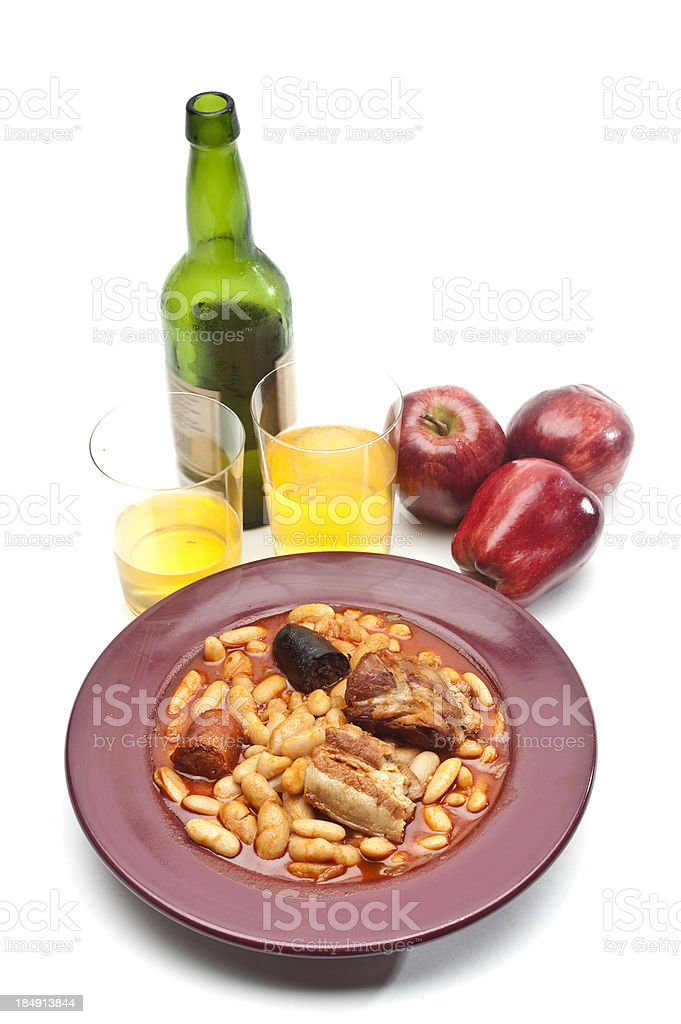 Spanish Fabada and Sparking Apple Cider stock photo