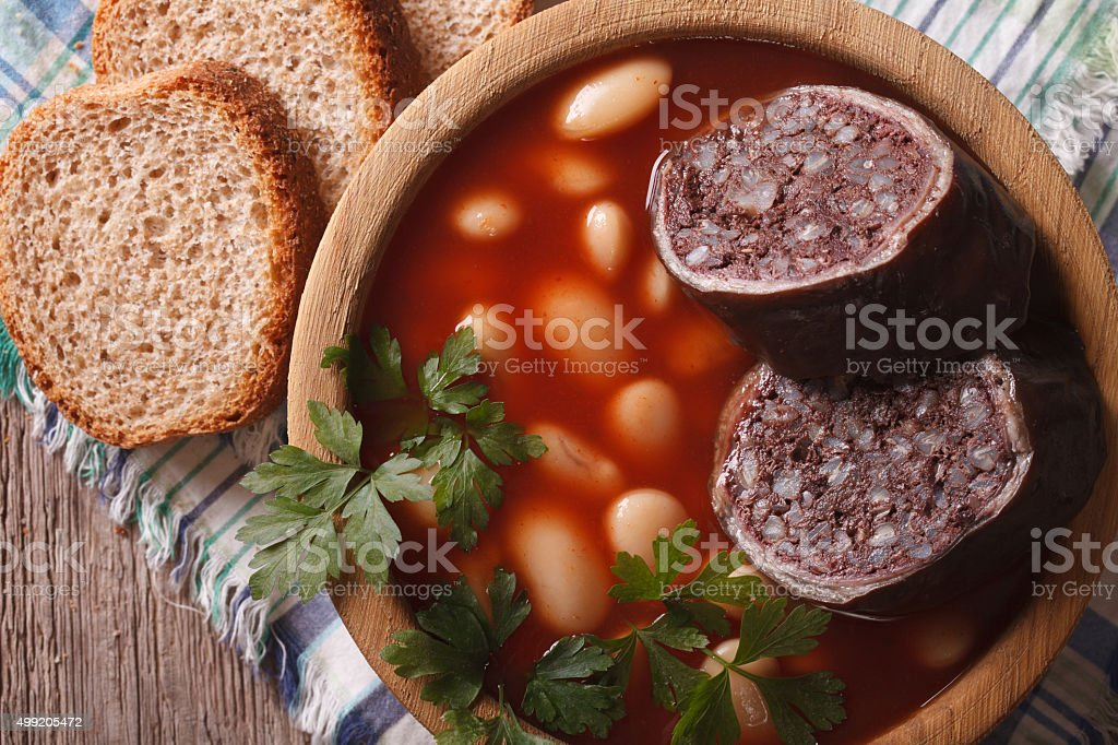 Spanish FABADA ASTURIANA soup close up. horizontal top view stock photo