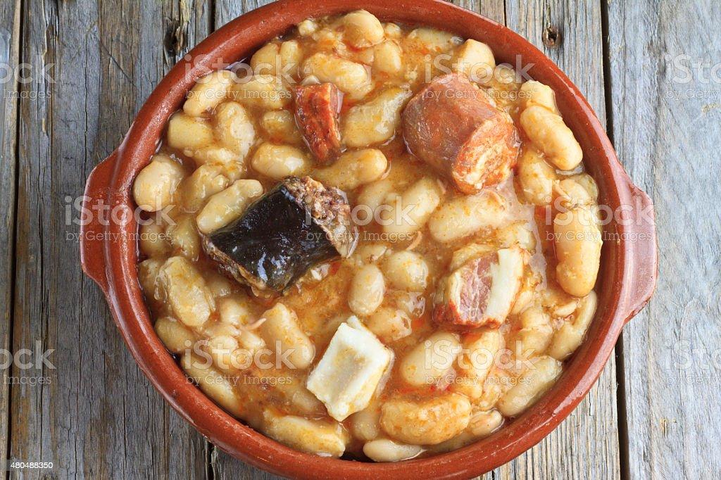 Spanish fabada in an earthenware dish stock photo